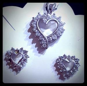 Vtg sterling heart cz pendant, heart cz earrings